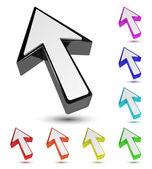 Set of multicolored 3d arrow cursor pointer — Stock Vector