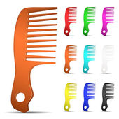 Set of multicolored hairbrushes — Stock Vector