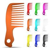 Uppsättning av mångfärgade hårborstar — Stockvektor