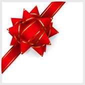 Red bow of ribbon — Vector de stock