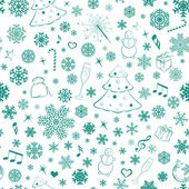 Seamless pattern with snowflakes and Christmas symbols — Stock Vector