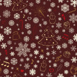 Seamless pattern with snowflakes and Christmas symbols — Imagen vectorial