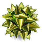 闪亮丝带系的绿色蝴蝶结 — 图库矢量图片