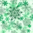 Stock Vector: Christmas seamless pattern with green snowflakes