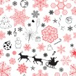 Christmas seamless red-black pattern — Stock Vector