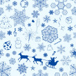 Christmas seamless blue pattern — Stock Vector