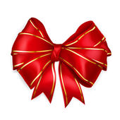 Red bow with golden strips — Vector de stock