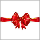Red bow with horizontal ribbons with golden strips — Stockvector