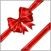 Red bow with diagonally ribbons with golden strips — Vector de stock