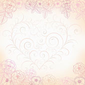 Background with roses and heart — Vector de stock