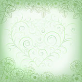 Background with roses and heart — Stockvector