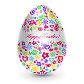 White egg with flowers — Vector de stock