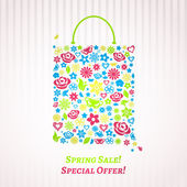 Shopping bag for Spring Sale — Stock Vector