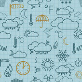 Seamless pattern of weather symbols — Stock Vector