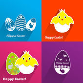 Easter backgrounds with eggs and chickens — 图库矢量图片