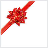 Bow of red ribbon with gold stripes. Located diagonally — Stock Vector