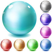 Set of multicolored glossy spheres — Stock Vector