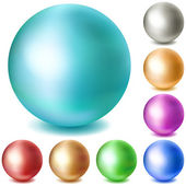 Set of multicolored matte spheres — Stock Vector