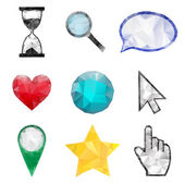 Set of polygonal icons — Stock Vector
