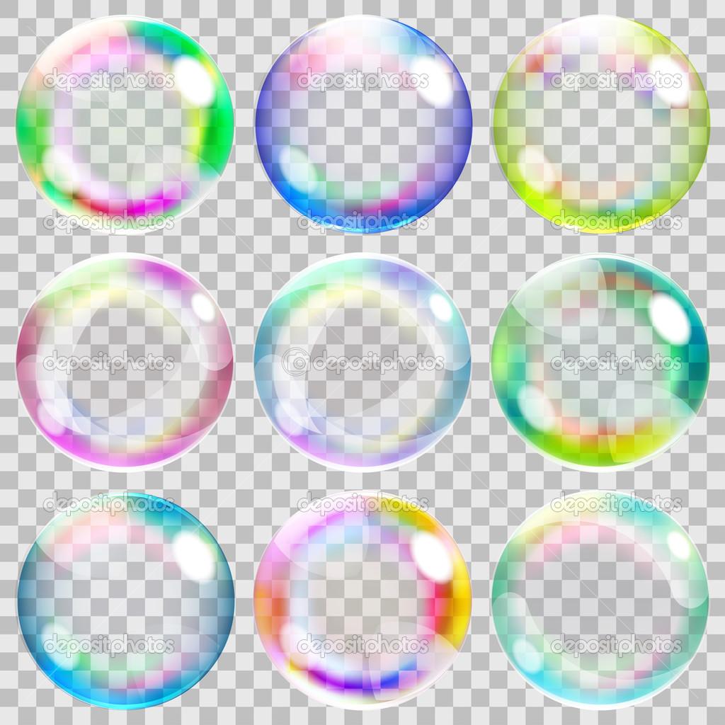 Bolhas de sabão transparentes multicoloridas — Vetor de ...