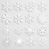 Conjunto de copos de nieve de papel — Vector de stock
