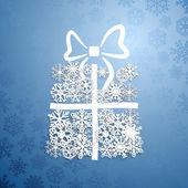 Kar taneleri, hediye kutusu — Stok Vektör
