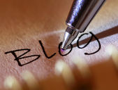 "Pen points to the word ""blog"" on the paper. — Stock Photo"