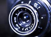 Close up of old retro film camera lens — Stock Photo