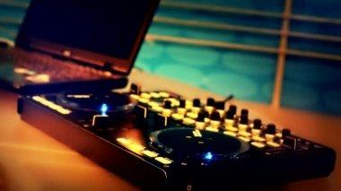 DJ using his mixer table — Stock Video