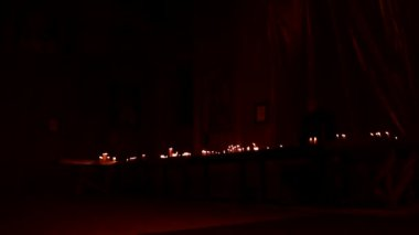 Church candle lights in the christmas time — Stock Video