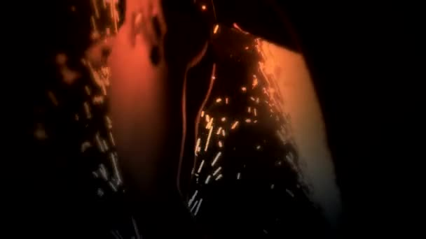 Sexy fille dansante sur la scène avec firewoks — Vidéo