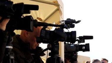 Media press cameras — Stock Video
