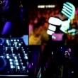 Dj,reflector vj lights in clubbing party,hot sexy girls dancing ,robot,vj - multi screen time lapse — Stock Video #41580631