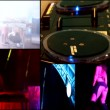 Dj,reflector vj lights in clubbing party,hot sexy girls dancing ,robot,vj - multi screen time lapse — Stock Video #41583595