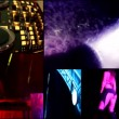 Foam  clubbing party dj,reflector vj lights ,hot sexy girls dancing - multiscreen timelapse — Stock Video #41649861