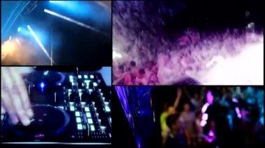 Foam  clubbing party dj,reflector vj lights ,hot sexy girls dancing - multiscreen timelapse — Stock Video