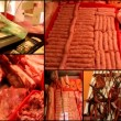 Stock Video: Raw meat butchery market