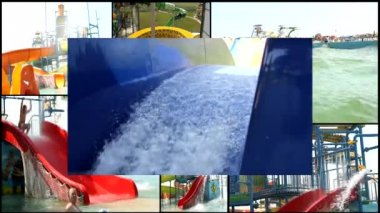 Aqua amusement park  multi screen — Stock Video