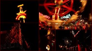 Luna park multi screen time lapse — Stock Video