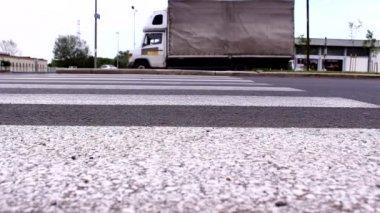 Traffic Road in Vojvodina,Serbia,zebra crossing — Stock Video