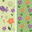 Stock vektor: Seamless cute flowers and birds, set