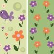 sömlös söta blommor och fåglar, — Stockvektor