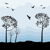 Landscape with birds, silhouettes — Stock Vector