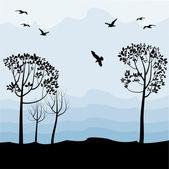 Paisagem com pássaros, silhuetas — Vetorial Stock
