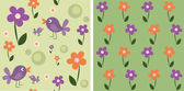 Seamless cute flowers and birds, set — Stock Vector