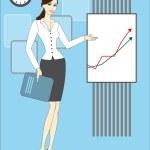 Beautiful woman and chart board — Stock Vector #16860843