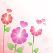 Floral background with hearts — Stock Vector