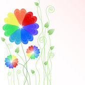 Background with hearts rainbow flowers — Stock Vector