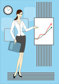 Krásná žena a graf rada — Stock vektor