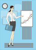 Schöne frau und diagramm-board — Stockvektor